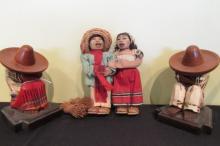 4 Mexican Wood & Straw Dolls 6