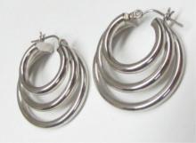 14k White Gold Triple Hoop Earrings 1