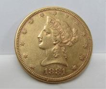1881-S 10 DOLLAR GOLD COIN US LIBERTY