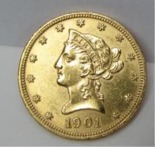 1901 $10 DOLLAR GOLD COIN US LIBERTY