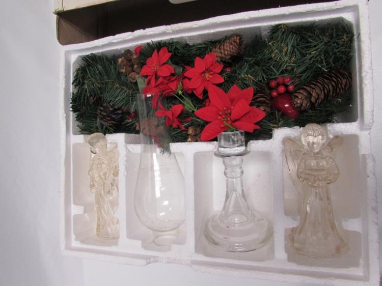 Christmas centerpiece set in box holiday angel