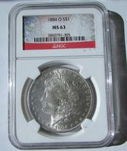 1884 O SILVER DOLLAR NGC MS63 CERTIFIED MORGAN