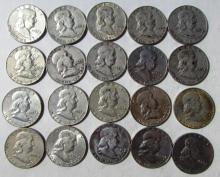 20 FRANKLIN HALF DOLLAR SILVER COINS 1949-1963