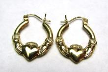 14K GOLD CLADDAGH EARRINGS HOOPS PIERCED