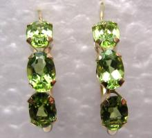 6 PERIDOT EARRINGS 14K GOLD HOOPS PIERCED STONES
