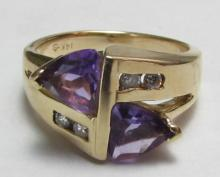 2CT AMETHYST DIAMOND 14k GOLD RING 5.4 GRAM