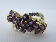 14K GOLD 1.5CT AMETHYST DIAMOND RING 4.3 g SZ 7