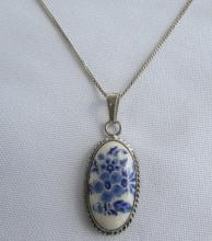 STERLING SILVER NECKLACE PORCELAIN PAINTED FLORAL