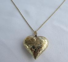 GOLD ON STERLING SILVER HEART NECKLACE PENDANT