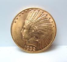 1932 UNCIRCULATED $10 GOLD COIN INDIAN HEAD EAGLE