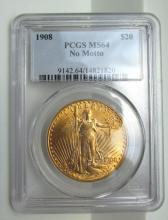 1908 $20 ST GAUDENS GOLD COIN MS64 PCGS
