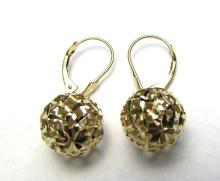 14K GOLD EARRINGS BALL DIAMOND CUT SPHERE