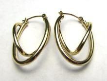 14K GOLD EARRINGS DOUBLE HOOP PIERCED