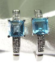 BLUE TOPAZ DIAMOND 14K GOLD EARRINGS PIERCED