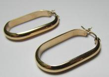 14K GOLD EARRINGS OVAL HOOP PIERCED