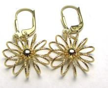 14K GOLD EARRINGS 3D FLOWER FRENCH BACK