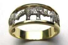 14K GOLD RING ELEPHANT SIZE 6 MILOR MULTI LUCKY
