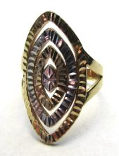 14K GOLD RING DIAMOND CUT MULTICOLOR SIZE 7