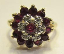 RUBY DIAMOND RING 10K GOLD SIZE 6.25