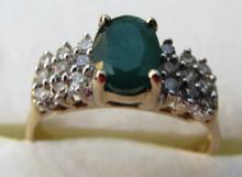 1 CT EMERALD DIAMOND 10K GOLD RING SIZE 7