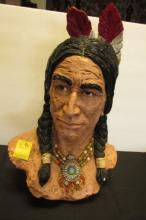 Native American Chief Sculpture Plaster Bust