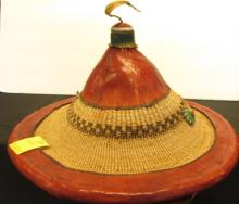 Asian Hat Painted Leather & Reed Antique