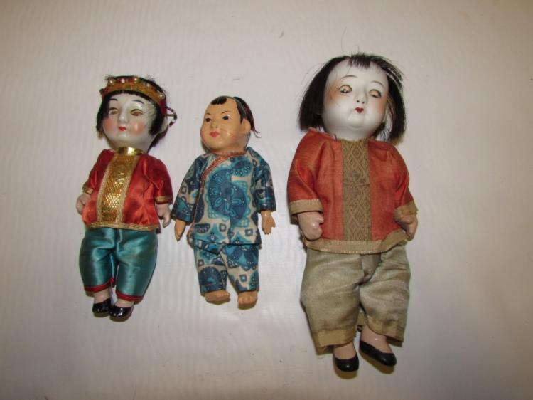 3 ASIAN DOLLS SLEEP EYES SQUEAKER GLASS PORCELAIN
