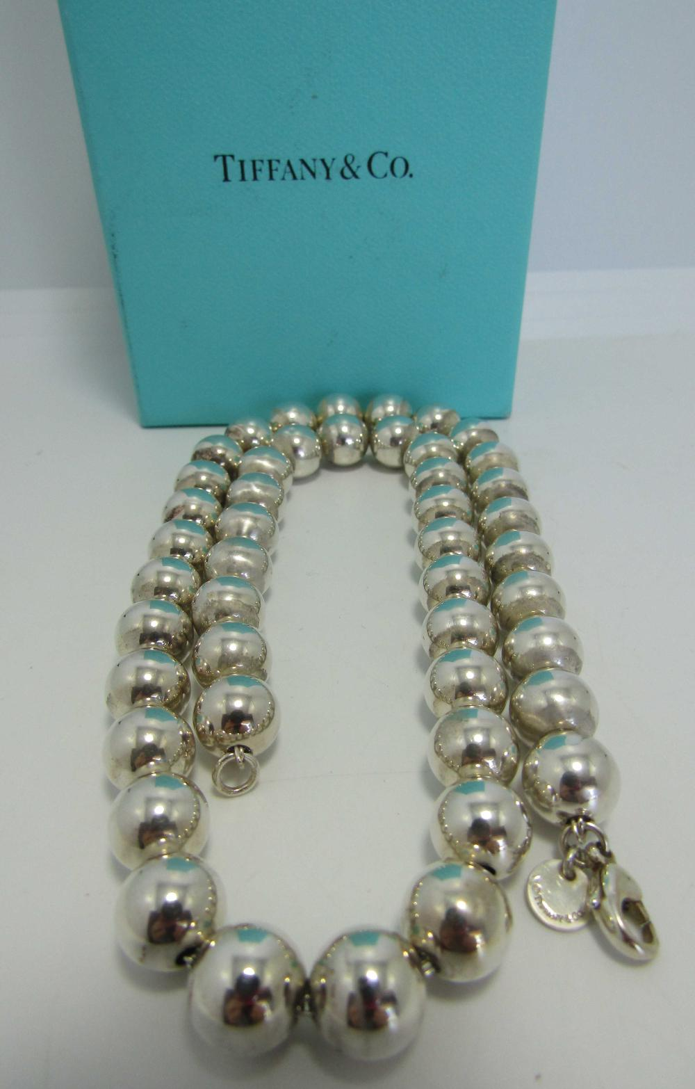 Tiffany Co 10m Bead Necklace 18 Sterling Silver