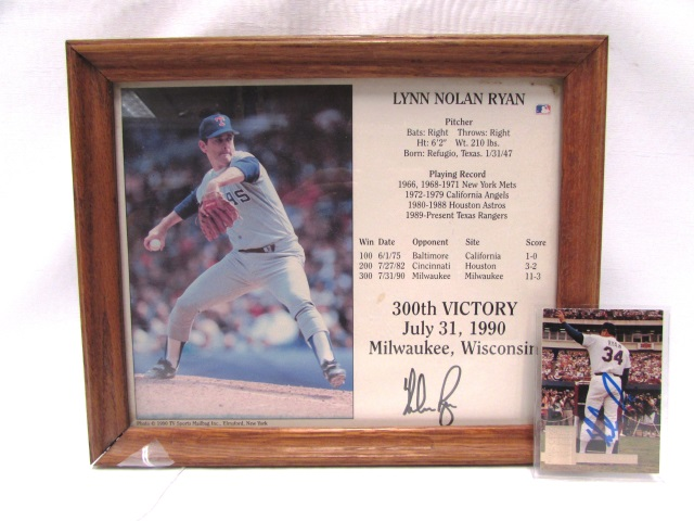 Lynn Nolan Ryan Autographed Card Picture Baseball