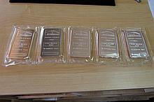 (5) PROOF SILVER 10 OZ TROY BAR NTR REFINERS