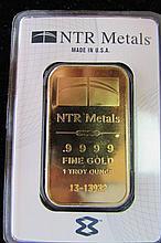 GOLD INGOT BAR .9999 FINE 1 TROY OZ NTR REFINER