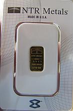 GOLD INGOT BAR .9999 FINE 1/10 TROY OZ NTR REFINER