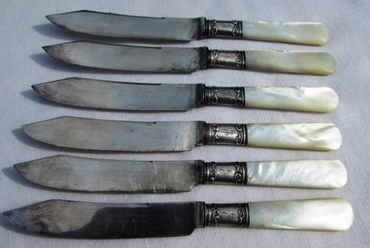 6 NORTHAMPTON KNIVES STERLING SILVER MOP