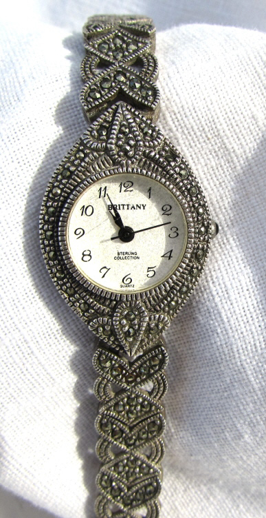 STERLING SILVER & MARCASITE WATCH QUARTZ RUNNING