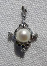6.4MM PEARL DIAMOND PENDANT 14k GOLD CHARM