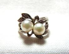 PEARL DIAMOND RING 14K WHITE GOLD 3.6 GRAMS