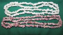 2 STONE NECKLACES PINK & WHITE NUGGET 35