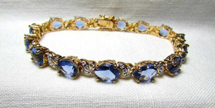 GOLD ON STERLING SILVER BRACELET TANZANITE CZ