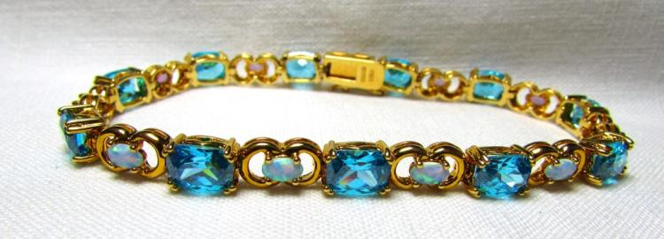 GOLD ON STERLING SILVER BRACELET TOPAZ OPAL CZ