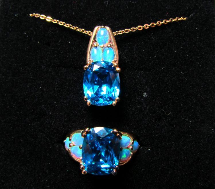 GOLD ON STERLING SILVER RING NECKLACE TOPAZ OPAL