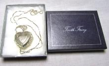 STERLING SILVER TOOTH FAIRY LOCKET NECKLACE TOOTH