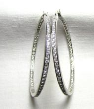 STERLING SILVER EARRINGS 2 CT CZ IN & OUT HOOP