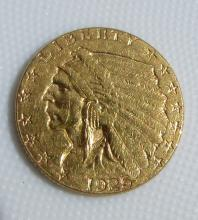 1925 D $2.5 GOLD COIN INDIAN HEAD QUARTER EAGLE AU