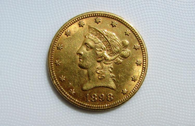 1898 $10 GOLD COIN EAGLE LIBERTY HEAD VF