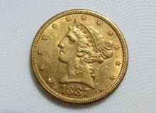 1887 S $5 GOLD COIN LIBERTY HEAD HALF EAGLE UNC