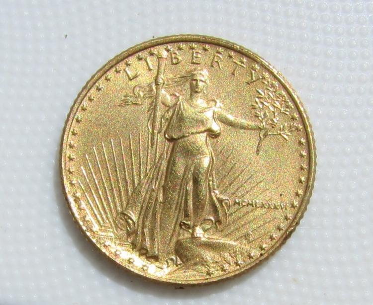 1986 $5 GOLD COIN AMERICAN EAGLE AU 1/10 OZ