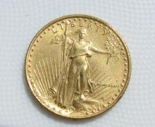 1986 $5 GOLD COIN AMERICAN EAGLE AU 1/10 OZ