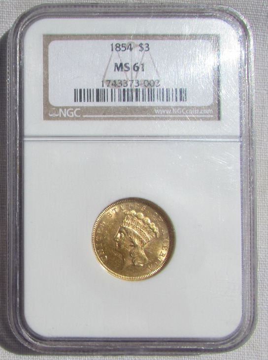1854 $3 US GOLD COIN NGC MS 61 INDIAN PRINCESS