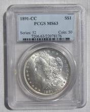 1891 CC MORGAN SILVER DOLLAR PCGS MS63 CARSON