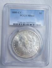 1880 CC MORGAN SILVER DOLLAR PCGS MS64 3rd rev